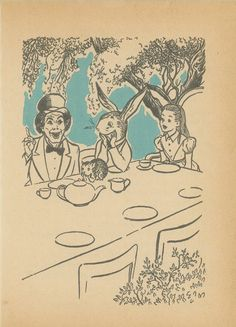 alice in wonderland tea party print