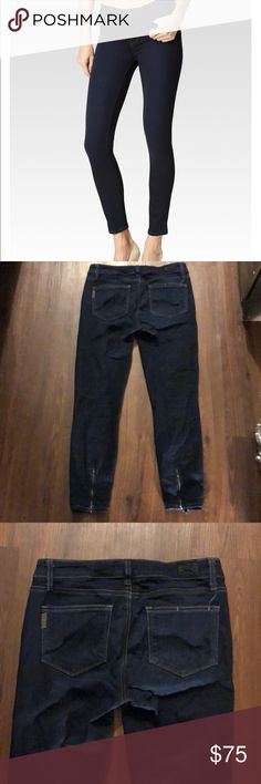 "Paige Desi Ankle Zip Dark WashSize 29 Preloved! In good condition- little damage on back label. Inseam measures 25 1/2"". Rise measures 8 "". Flat waist measures 14 1/2"". 🚫 No Trades! Open to reasonable offers through the offer button button. PAIGE Jeans Ankle & Cropped"