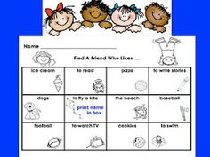 Looks great for first week of school. First Grade Best: Find A Friend
