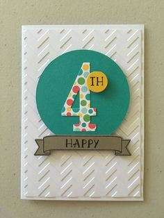 handmade birthday card ... die cut big number for paper with bright dots ... .luv the embossing folder texture on the card face ... Stampin' Up!