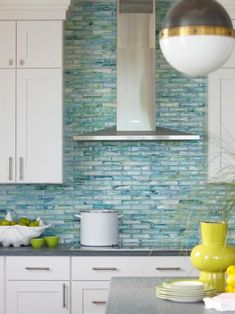 Cheap Glass Tile Kitchen Backsplash Decor Ideas: Beach Style Kitchen With Blue Cheap Glass Tile Kitchen Backsplash And Painted Wood Cabinets ~ oiprs.com Decorating Inspiration