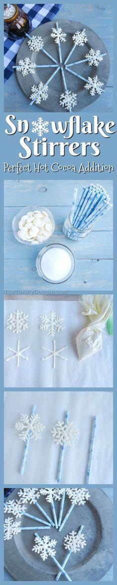 What an adorable idea! How to easily make white chocolate snowflake stir straws for stirring into hot cocoa. These is also a perfect Frozen party idea and treats for a winter or Elsa party! White Chocolate Candy, Chocolate Candy Melts, Melting Chocolate, Christmas Goodies, Christmas Ideas, Christmas Recipes, Holiday Ideas, Christmas Tablescapes, Christmas Sweets