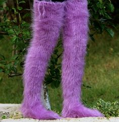 New Hand knit mohair socks fuzzy stockings PURPLE leg warmers by SUPERTANYA #SuperTanya #Casual