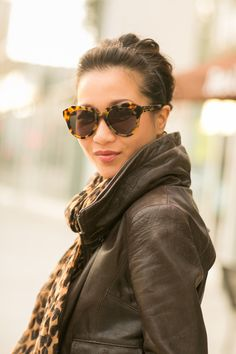 Autumn Throwback :: Aviator jacket  Karen Walker sunglasses, LV scarf