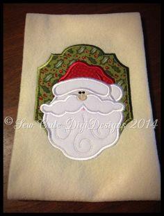 Ho Ho Ho - Appliqued Christmas Santa within a appliqued border - Instant Download
