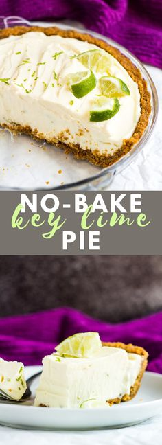 No-Bake Key Lime Pie - A deliciously creamy key lime pie recipe with a crunchy ginger crust is a match made in heaven. Top with fresh whipped cream and lime slices for the ultimate refreshing Summer dessert! Key Lime Desserts, No Bake Desserts, Easy Desserts, Dessert Recipes, Baking Desserts, Icebox Desserts, Lemon Desserts, Pastry Recipes, Cooking Recipes
