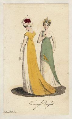 Lady's Museum, Evening Dresses, February I love the asymmetry of the green one! Very toga-esque! 1800s Fashion, Victorian Fashion, Vintage Fashion, Victorian Dresses, Medieval Fashion, Steampunk Fashion, Jane Austen, Regency Dress, Regency Era