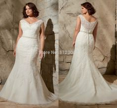 Cheap dress wedding muslim, Buy Quality wedding dresses mermaid cut directly from China wedding gown with long train Suppliers: New Elegant 2014 Mermaid V Neck Cap Sleeve Beading Lace Chiffon Bridal Gown Court Train Romantic Plus Size Wedding Dre Wedding Dresses For Curvy Women, White Bridal Dresses, Wedding Dresses Plus Size, Modest Wedding Dresses, Plus Size Wedding, Bridal Gowns, Bridesmaid Dresses, Weeding Dress, Lace Mermaid Wedding Dress