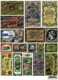 Free Printable Collage Sheets | CURRENCY - Digital Printable Collage Sheet - Old Money, Antique Bills ...