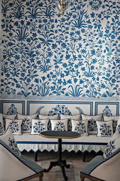 Can't get enough blue and white. Bar Palladio at the Narain Niwas Palace Hotel, Jaipur.