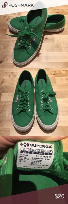 Gently Used Superga Green shoes sz 41 Gently used, probably worn 5 times at most. Very cute color! Very cute casual shoes! Green Canvas upper, with white rubber rims. Green matching laces. No box. Nice shoes-- need someone to wear them lol! Perfect for St. Patrick's day!☘️☘️☘️🍀 Smoke free, pet free home. Superga Shoes Sneakers