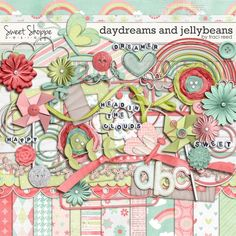 """Photo from album """"Daydreams_and_Jellybeans_-_Traci_Reed"""" on Yandex. Free Digital Scrapbooking, Digital Scrapbook Paper, Png Pack, Kit Digital, Overlays Instagram, Scrapbook Embellishments, Printable Paper, Jelly Beans, Pattern Paper"""