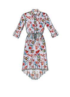 McCall's shirtdress sewing pattern M7682: Misses'/Miss Petite Shirtdresses with Drawstring Waist