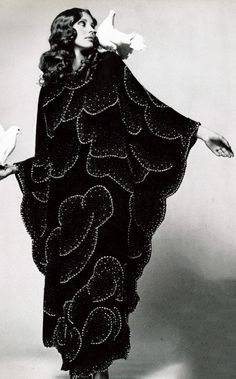 Sequined black maxi dress for Vogue Italia in the 1970s