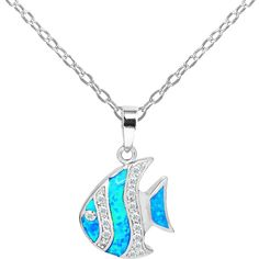 Golden Moon Opal & Cubic Zirconia Fish Pendant Necklace ($20) ❤ liked on Polyvore featuring jewelry, necklaces, cz necklace, multi color necklace, multi coloured necklace, chain pendants and golden necklace