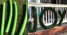 3 Ways To Decorate With Pool Noodles This Christmas Pool Noodle Christmas Wreath, Pool Noodle Wreath, Pool Noodle Crafts, Christmas Lights Outdoor Trees, Outdoor Christmas Decorations, Christmas Tree Fence, Whoville Christmas, Christmas Garden, Decorating With Christmas Lights