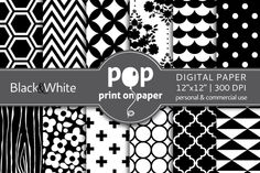 Check out Black & White - 12 digital papers by POP print on paper on Creative Market