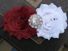 Mississippi State Bulldogs Shabby Chic Headband, Maroon or Burgundy and White Stretch Headband. $6.99, via Etsy.
