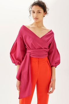 This Is The Shirt You've Seen Bloggers Wearing Everywhere - $65 Topshop Puff Sleeve Poplin Wrap Top In Fushia Pink