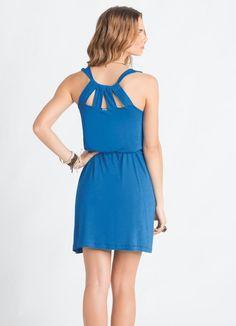 Vestido Trapézio (Azul) com Tiras