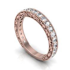 Rose Gold 0.70ctw Diamond Semi Eternity Ring - Custom Vintage Style