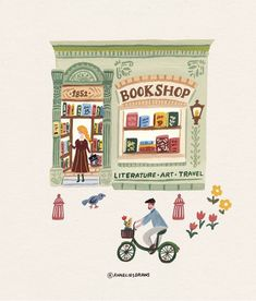 A cozy little bookstore :) . Gouache Painting, Painting & Drawing, Painting Inspiration, Art Inspo, Posca Art, Ideias Diy, Children's Book Illustration, Cute Drawings, Cute Art
