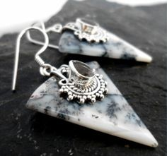 $39.00~Sterling Silver Dendritic Opal Earrings with Faceted White Topaz Gemstone ~Designed in India These polished sterling silver earrings are all about pairing natures Gems and Stones together and forming a piece that is absolutely Stunning!! For all details on this pendant please click on the picture.