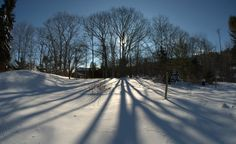 """""""The long and dramatic shadows of an afternoon in a Maine winter."""" (From: 32 Spectacular Photos of Winter Wonderlands)"""