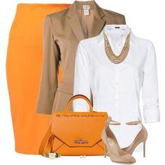 Orange, Beige & White