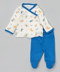 Blue Scrappy Dog Side-Snap Organic Layette Set - Infant by Under the Nile #zulily #zulilyfinds