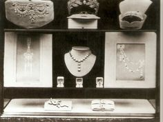 Marie Bonaparte's wedding presents, exhibited by Cartier on the window of thier Paris shop | made for Princess Marie's marriage to Prince George of Greece and Denmark in 1907.