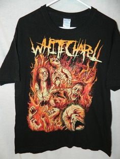 Deathcore Metal Band WHITE CHAPEL Zombie Fire T Shirt Mens Large #MOknits #GraphicTee