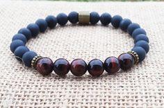 Mens Bracelet/Matte Onyx Red Tiger Eye Bracelet/Stretch Beaded Gemstones Bracelet/Wrist Mala/Grounding/Energy/Mens Stone Yoga Bracelet  Beads