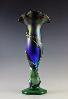 Bohemian Glamorous Art Nouveau Jugendstil Iridescent Large Glass Vase 14''