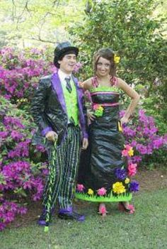 Prom outfits made out of duct tape...