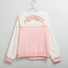 """Special offer Japanese Harajuku Pink Sailor Collar Jacket  """"Full Energy"""" Genki Shoujou Girls Lolita Lace Up Embroidery Coat Outwear just only $28.96 with free shipping worldwide  #womanjacketscoats Plese click on picture to see our special price for you"""