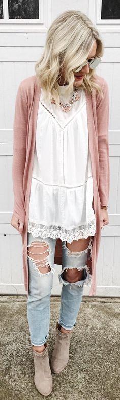 #spring #fashion /  Pink Maxi Cardigan / White Blouse / Destroyed Denim / Grey Suede Booties