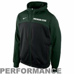 199bfbf4b63 Nike Michigan State Spartans Basketball Performance Full Zip Hoodie -  Green Black