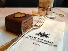 The irresistible confection has been lovingly crafted at the Imperial for decades. Select natural ingredients give the Imperial Torte its distinctive aroma. The Cacao cream beaten to an ethereal lightness is layered between delicate wafers of almond pastry and then enveloped in fine marzipan and a rich glaze of chocolate. #feelaustria
