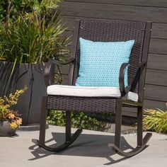 August Grove Kampmann Outdoor Wicker Rocking Chair with Cushions Frame Color: Dark Brown/Cream Front Porch Chairs, Front Porch Seating, Front Porch Furniture, Patio Furniture Sets, Outdoor Furniture, Wicker Rocking Chair, Outdoor Rocking Chairs, Outdoor Lounge, Outdoor Seating