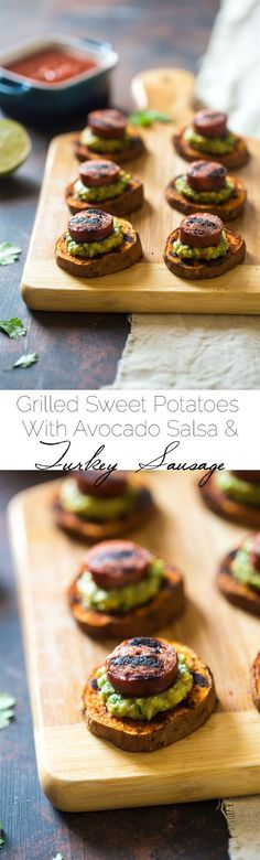 Spicy Grilled Sweet Potatoes with Avocado Salsa and Turkey Sausage - Grilled Sweet Potatoes are covered with creamy, smooth avocado salsa and turkey sausage for a quick, easy and healthy appetizer! Perfect for summer entertaining!   Foodfaithfitness.com   @FoodFaithFit