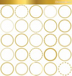 Gold Circle Frames, Circle Frame Clip Art, Round Frame Clip Art.  Small commercial and Personal use OK.