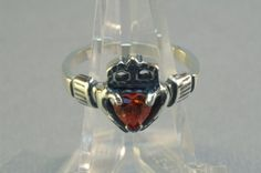 Sterling Silver Claddagh Ring with Birthstone by LeDragonArgente, $60.00