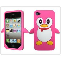 Amazon.com: Hot Penguin Soft Silicone Rubber Skin Case cover for Apple iPhone 4s 4 4G Peach: Cell Phones & Accessories - KDX Penguins - too cute!