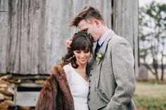 Lovely fur coat for winter wedding