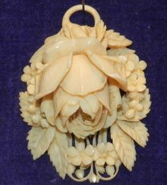 "Antique Victorian Ivory Carved Picture Pendant. Exquisitely carved, it is a substantial ivory picture locket pendant - measuring c. 2"" inch long - dating c. 1850."