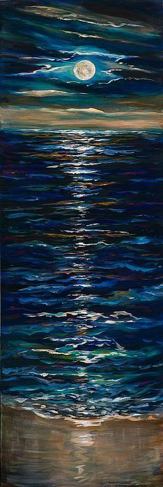 Moonlight Reflection Painting by Linda Olsen Arte Inspo, Ocean Art, Acrylic Art, Acrylic Paintings, Love Art, Painting Inspiration, Painting & Drawing, Diy Painting, Amazing Art