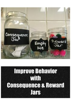 Improve behavior with a consequence and reward jar system for kids improve child behavior with consequences and rewards. A total child behavior modification system. Simple to implement. The key is being consistent and swift. Behavior Consequences, Behavior System, Behavior Rewards, Kids Rewards, Positive Behavior, Behaviour Management, Star Chart For Kids, Charts For Kids, Reward System For Kids