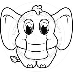 elephant line drawings | Baby Elephant (Black and White Line Art) by Cory Thoman | Toon Vectors ...