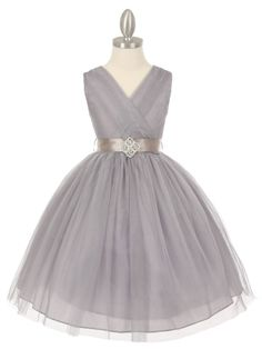 Silver Tulle V-Neck with Rhinestone Brooch Flower Girl Dress (Available in Sizes 2-14 in 6 Colors)